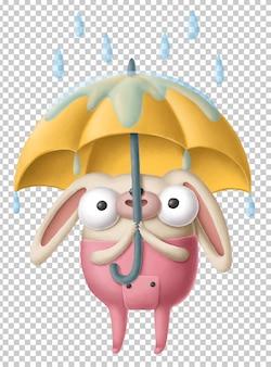 Coelho de desenho animado com guarda-chuva