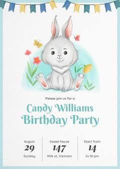 Coelho em aquarela convite de aniversário