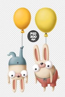 Coelhos engraçados com balões de ar