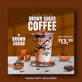 Coffee shop bebida menu promoção mídia social instagram post banner template