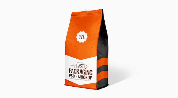 Cofffee bag mockup embalagem de alimentos mockup maquete de bolsa de plástico