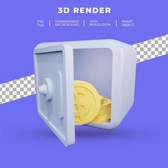 Cofre com ícone de moeda de ouro, renderização 3d conjunto isolado