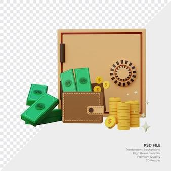 Cofre e pool de dinheiro e carteira e moedas de ouro