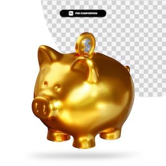 Cofrinho dourado com renderização 3d de moeda de dólar isolada