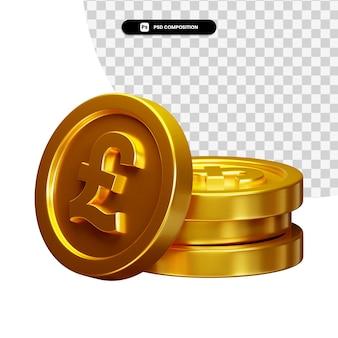 Coin 3d visual para composição isolada