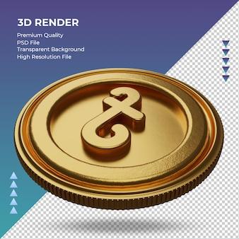 Coin bangladesh taka, símbolo da moeda ouro, renderização em 3d, vista correta