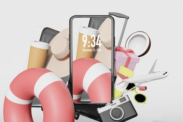 Coisas de verão com maquete de celular em renderização de ilustração 3d