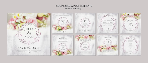 Colagem de modelo de postagem de mídia social floral de casamento mínimo