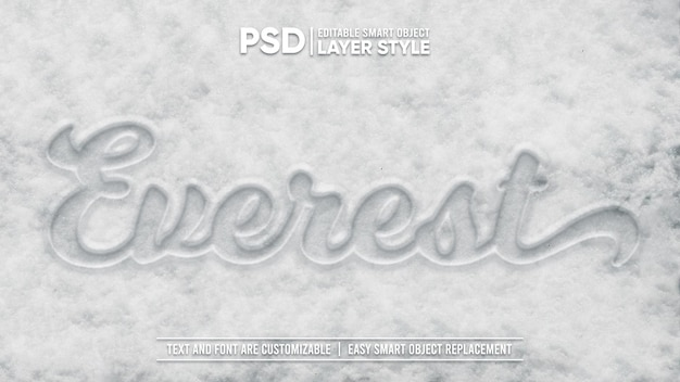 Cold winter white snow tipografia draw editable layer style smart object text effect