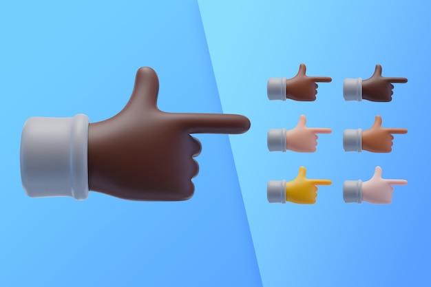 Coleção 3d com as mãos apontando o dedo indicador para o lado