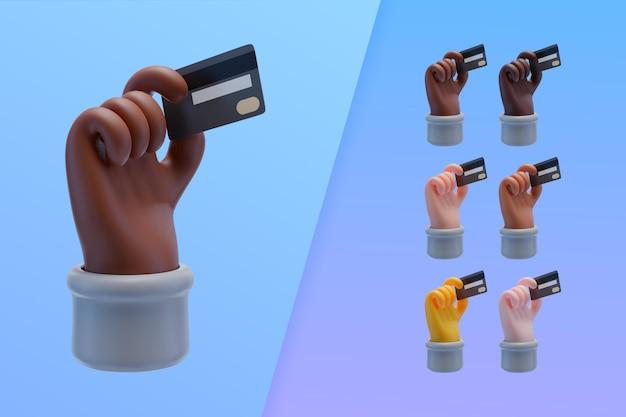 Coleção 3d com as mãos segurando um cartão de crédito
