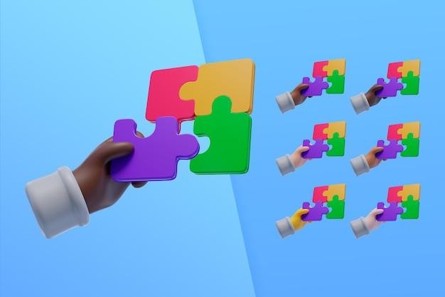 Coleção 3d com as mãos usando peças de quebra-cabeça