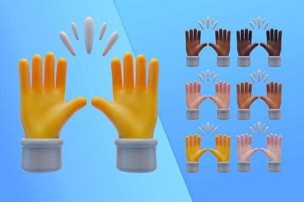 Coleção 3d com mãos elogiando