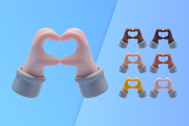 Coleção 3d com mãos fazendo o símbolo do coração