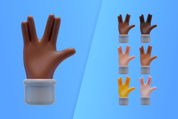 Coleção 3d com mãos fazendo saudação alienígena