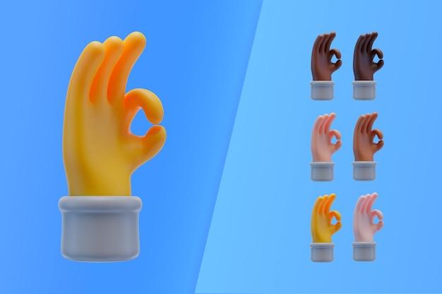 Coleção 3d com mãos fazendo sinal de ok