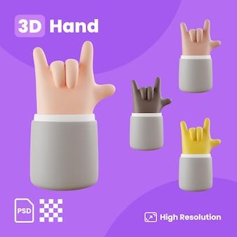 Coleção 3d com mãos fazendo sinal de rock and roll na frente