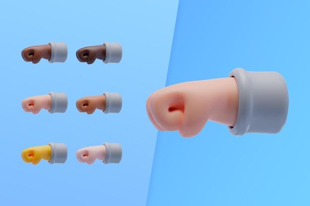 Coleção 3d com mãos mostrando soco