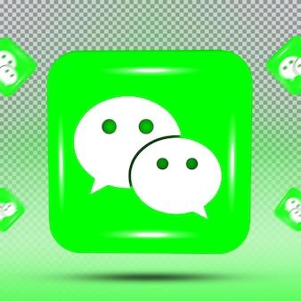 Coleção 3d de ícone de mídia social modelo wechat