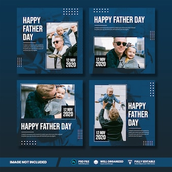 Coleção de banner de mídia social do dia do pai