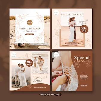 Coleção de banner de postagem de casamento