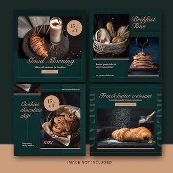 coleção de banner de postagem de comida