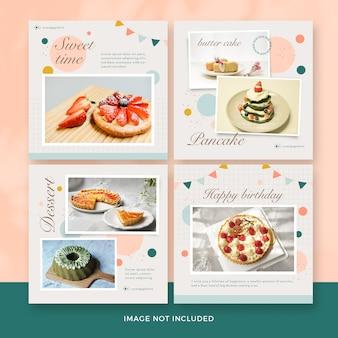 Coleção de banner de postagem de sobremesa