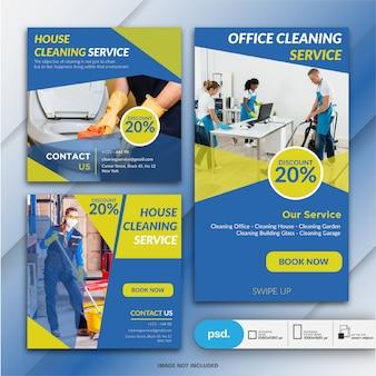 Coleção de banner de serviço de limpeza