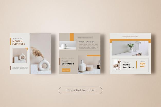 Coleção de banners de modelos de postagens no instagram para móveis domésticos modernos