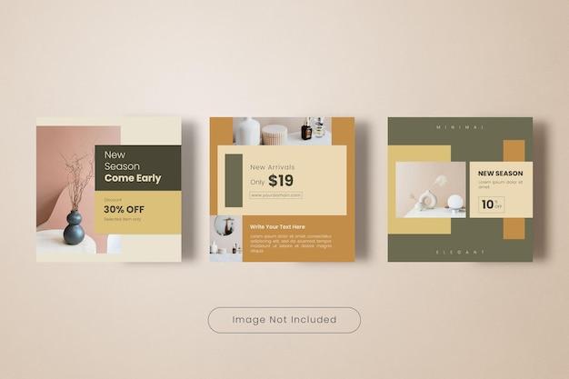 Coleção de banners de modelos de postagens no instagram para venda de móveis