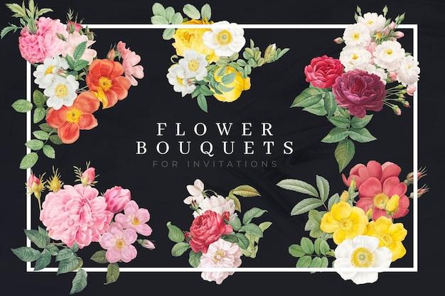 Coleção de buquês de flores e rosas coloridas