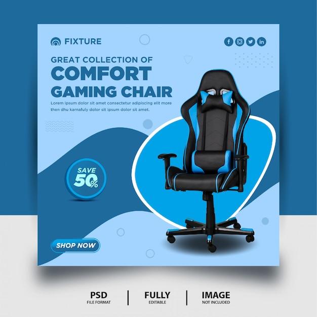 Coleção de cadeiras de jogos de conforto banner de postagem de mídia social