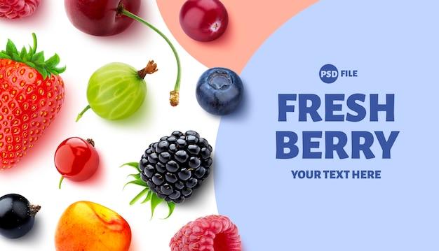 Coleção de design de embalagem de frutas diferentes