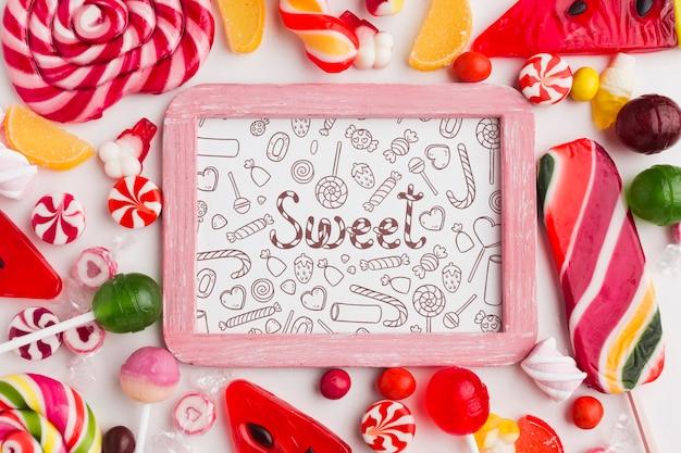 Coleção de doces na mesa