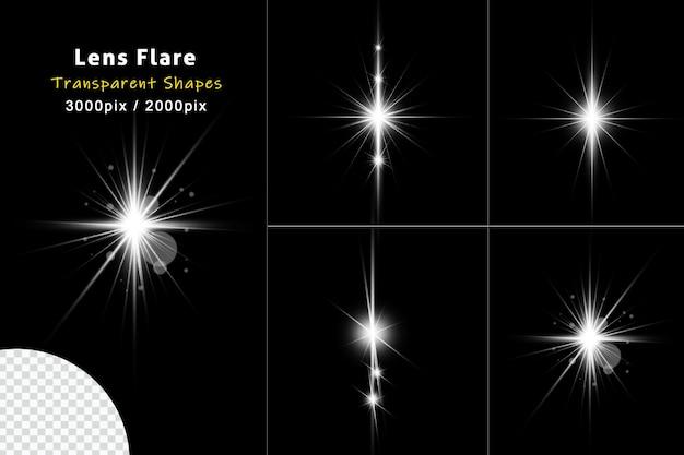 Coleção de efeito de luz de reflexo de lente branca brilhante