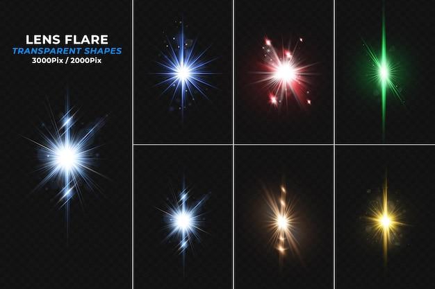 Coleção de efeitos de luz de reflexo de lente colorida