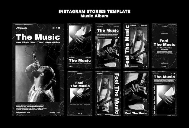Coleção de histórias de instagram de álbum de música