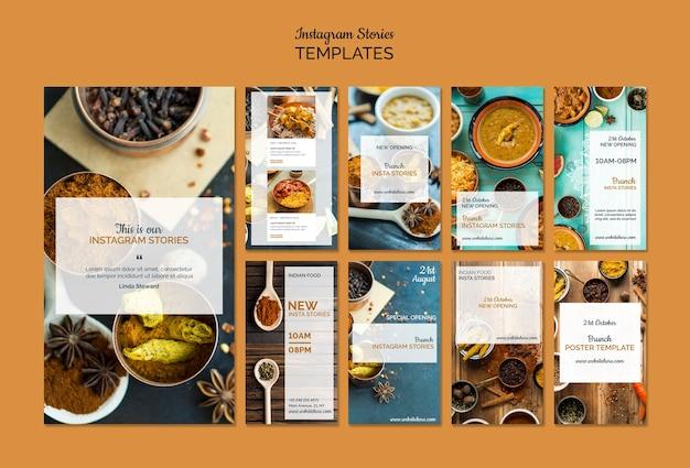 Coleção de histórias de instagram de comida indiana