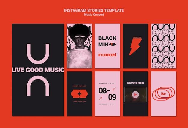 Coleção de histórias de instagram de concerto de música