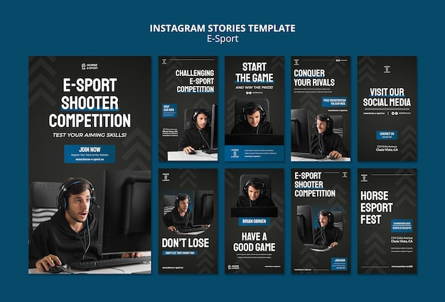 Coleção de histórias de instagram de e-sports