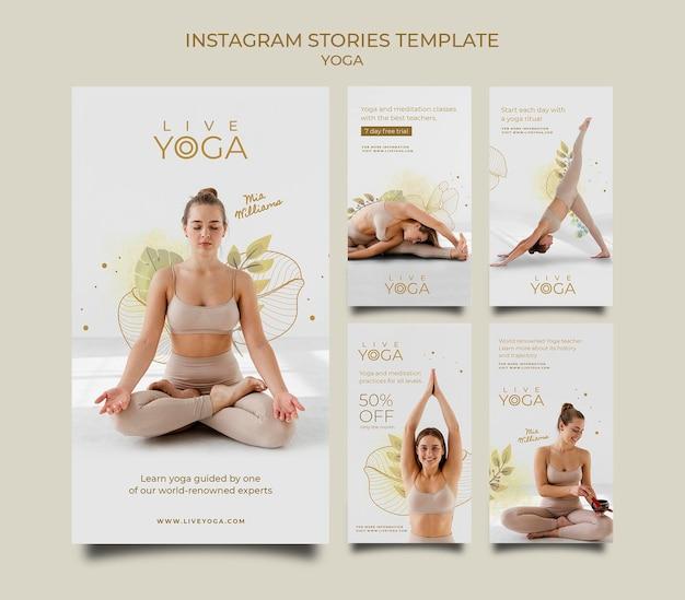 Coleção de histórias de instagram de ioga ao vivo