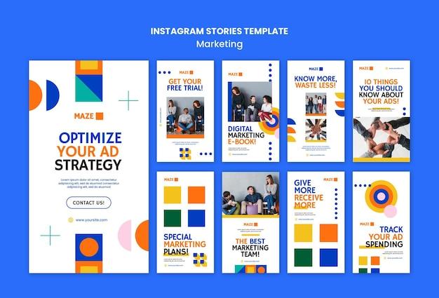 Coleção de histórias de instagram de marketing