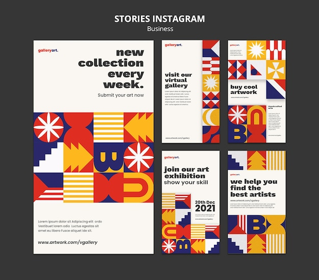 Coleção de histórias de instagram de negócios