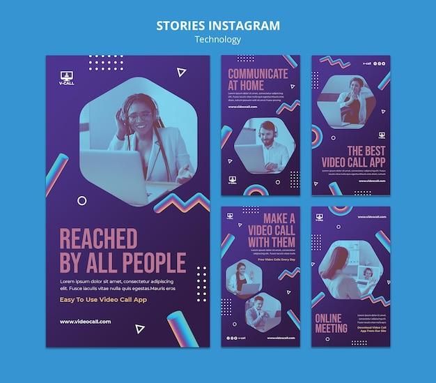 Coleção de histórias de instagram de tecnologia