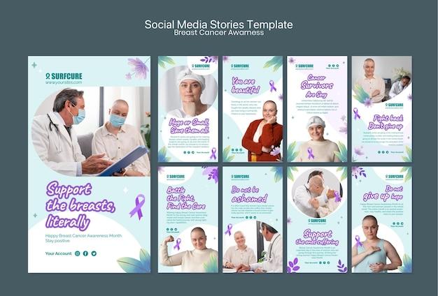 Coleção de histórias de mídia social de conscientização sobre o câncer de mama