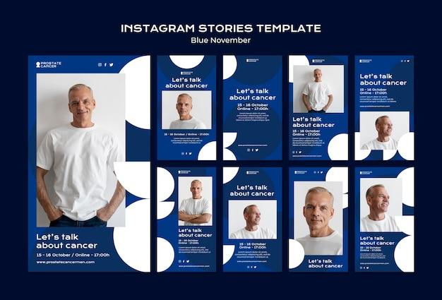 Coleção de histórias de mídia social de conscientização sobre o câncer de próstata