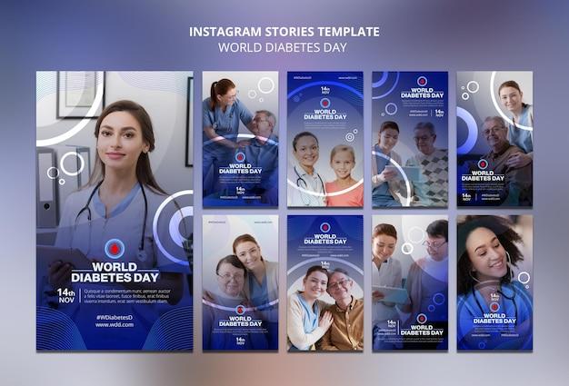 Coleção de histórias de mídia social do dia mundial da diabetes