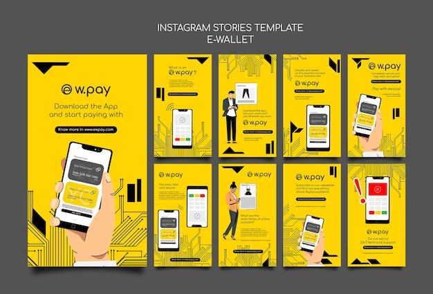 Coleção de histórias do instagram com carteira eletrônica