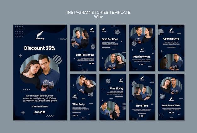 Coleção de histórias do instagram com casal para vinícola