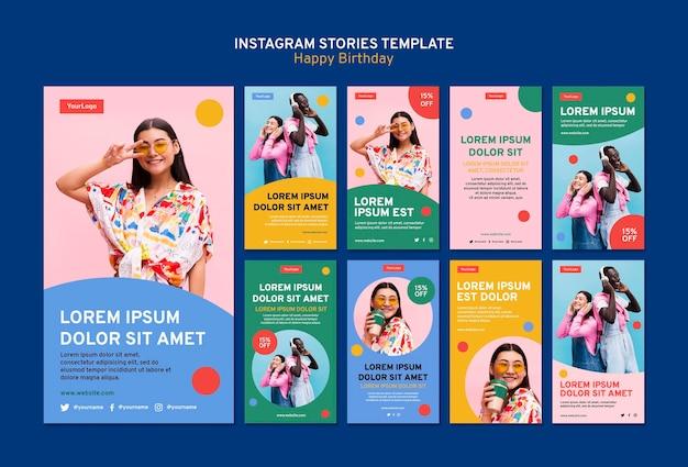 Coleção de histórias do instagram com cores fortes